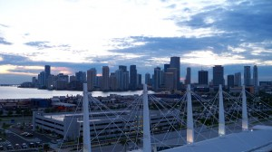 The miami skyline at sunset